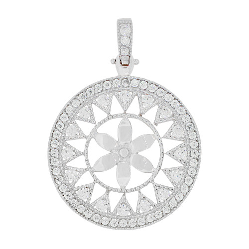 14k Gold White Rhodium, Fancy Wheel Flower Pendant Charm Created CZ 28mm (P049-060)