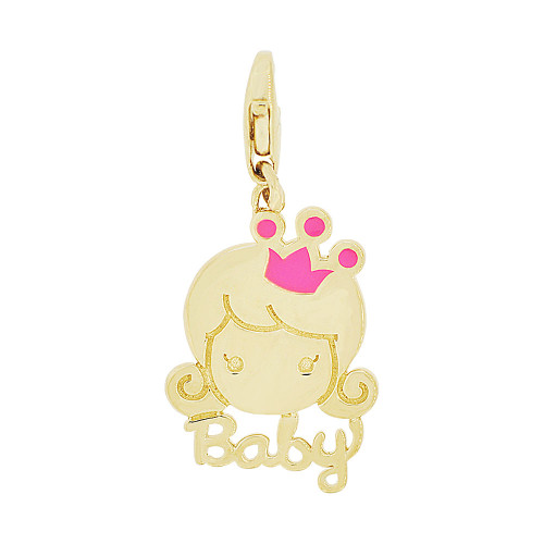 14k Yellow Gold, Girl Baby Princess Pendant Charm Lobster Lock Red Resin 13mm (P049-021)