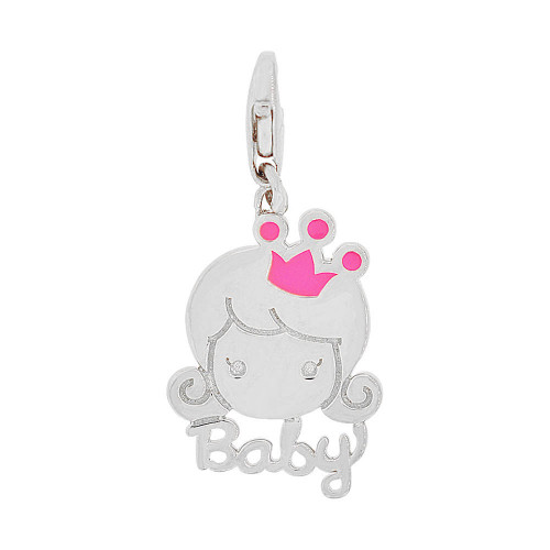 14k Gold White Rhodium, Girl Baby Princess Pendant Charm Lobster Lock Red Enamel 13mm (P049-071)