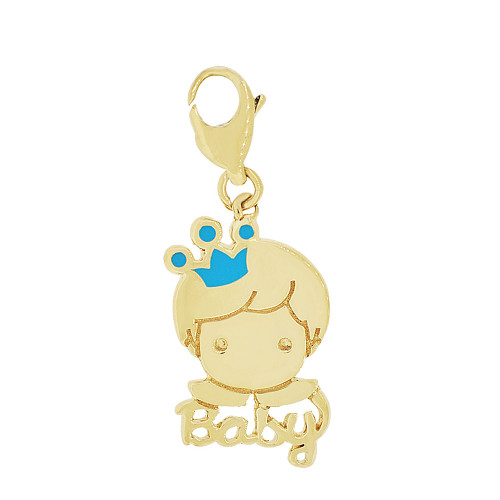 14k Yellow Gold, Baby Prince Boy Pendant Charm Lobster Lock Colorful Blue Resin 11.5mm (P049-022)