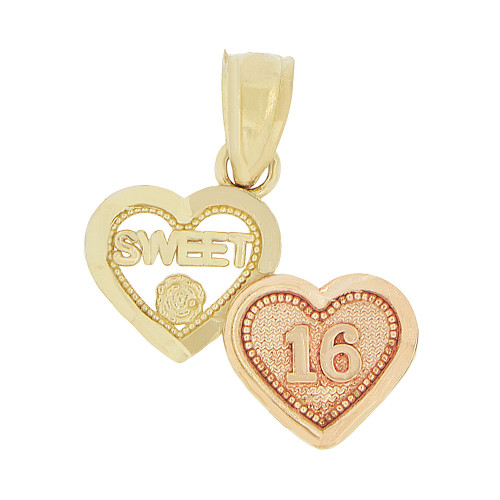 14k Yellow & Rose Gold, Mini Sweet 16 Hearts Pendant Charm Sparkly Cuts 14mm (P046-024)