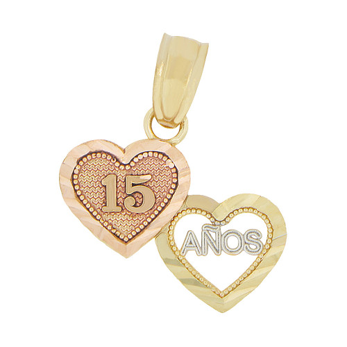 14k Yellow & Rose Gold, Mini 15 Anos Quinceanera Hearts Pendant Charm Sparkly Cuts 14mm (P046-025)