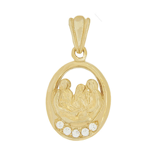 14k Yellow Gold, Small Baptism Christening Pendant Religious Charm Created CZ Crystals 10mm (P046-027)