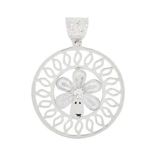 14k Gold White Rhodium, Spinning Fancy Flower Wheel Pendant Charm Created CZ 20mm (P047-076)