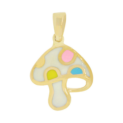 14k Yellow Gold, Whimsical Mushroom Pendant Charm Colorful Enamel Overlay 13mm (P047-027)