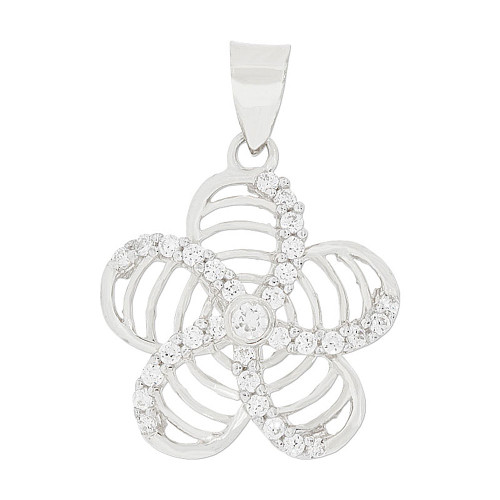 14k Gold White Rhodium, Fancy Hawaiian Flower Lei Pendant Charm Created CZ 20mm (P047-079)