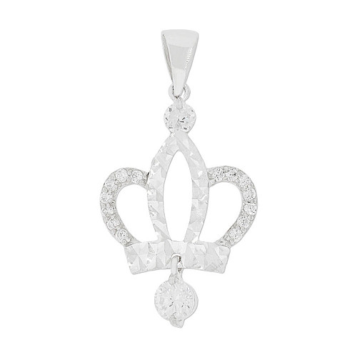 14k Gold White Rhodium, Tiara Crown Princess Pendant Charm Created CZ 15mm (P047-080)