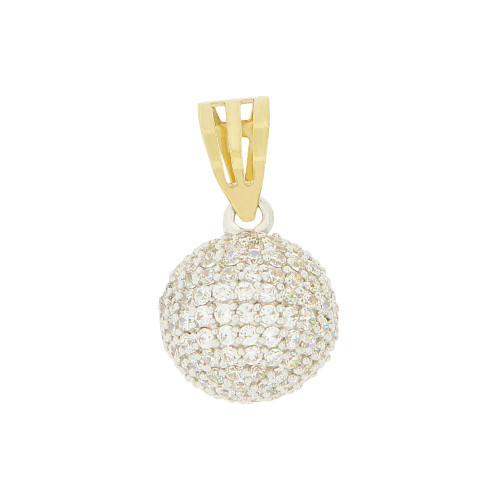 14k Yellow & White Gold, Disco Globe Ball Bead Pendant Charm Created CZ (P047-070)