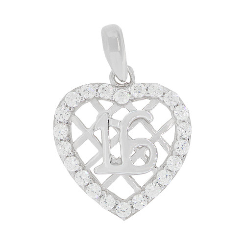 14k Gold White Rhodium, Sweet 16 Heart Pendant Charm Created CZ 13mm (P045-074)
