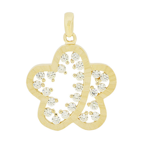 14k Yellow Gold, Modern Abstract Star Flower Pendant Charm Created CZ 18mm (P049-025)