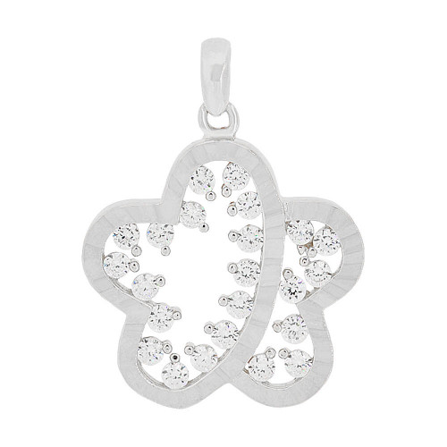 14k Gold White Rhodium, Modern Abstract Star Flower Pendant Charm Created CZ 18mm (P049-075)