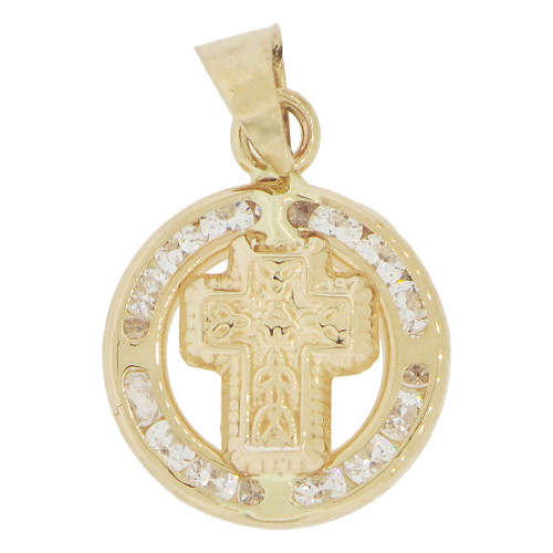 14k Yellow Gold, Mini Cross Round Religious Pendant Created CZ (P046-031)