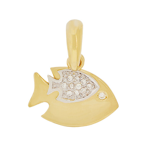 14k Yellow Gold White Rhodium, Double Fish Pendant Charm Created CZ Crystals 18mm (P050-005)