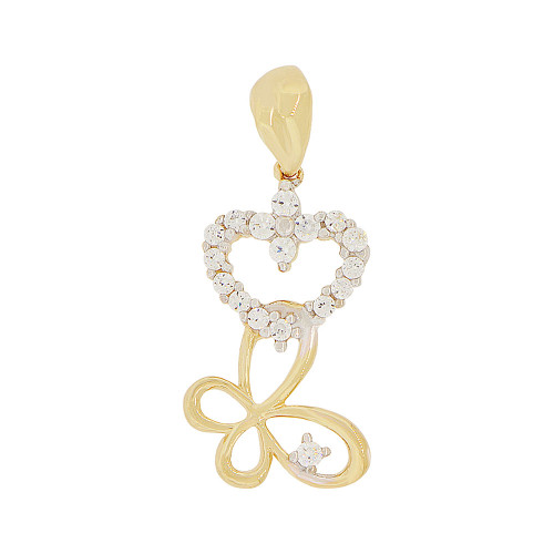 14k Yellow Gold, Small Heart Butterfly Pendant Charm Created CZ Crystals 11mm (P050-006)