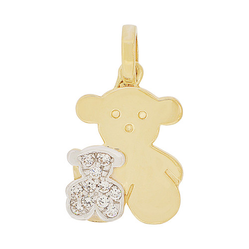 14k Yellow Gold White Rhodium, Double Teddy Bear Pendant Charm Created CZ Crystals 14mm (P050-009)