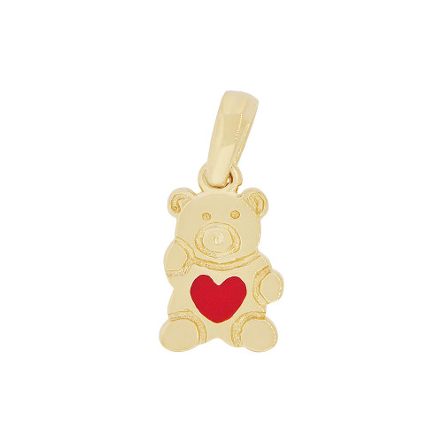 14k Yellow Gold, Small Teddy Bear Pendant Charm Red Enamel Resin Heart (P050-011)