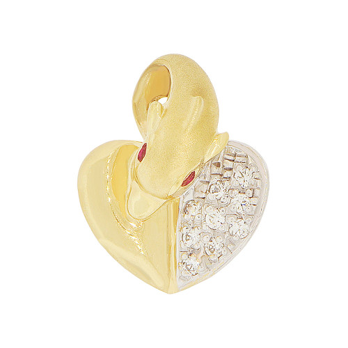 14k Yellow Gold White Rhodium, Dolphin & Heart Pendant Charm Created CZ Crystals 14mm (P050-012)