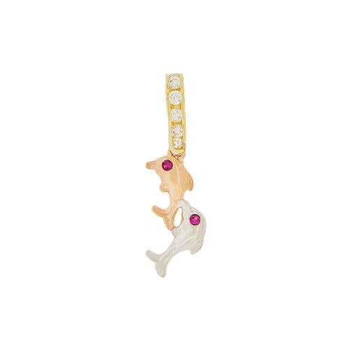 14k Tricolor, Double Jumping Dolphins Pendant Charm Created CZ Crystals  (P050-016)
