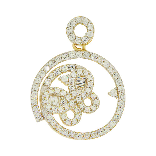 14k Yellow Gold, Abstract Butterfly Design Round Pendant Charm Created CZ Crystals (P051-004)