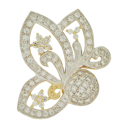 14k Yellow Gold White Rhodium, Fancy Butterfly Bow Design Pendant Charm Created CZ Crystals (P051-006)