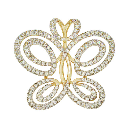 14k Yellow Gold White Rhodium, Fancy Butterfly Design Pendant Charm Created CZ Crystals (P051-007)