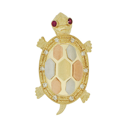 14k Tricolor Gold, Good Fortune & Luck Turtle Pendant Charm Created CZ Crystals (P051-025)