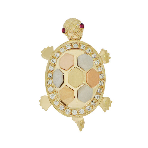 14k Tricolor Gold, Good Fortune & Luck Turtle Pendant Charm Created CZ Crystals (P051-026)