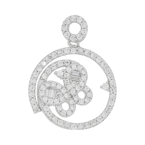 14k Gold White Rhodium, Abstract Butterfly Design Round Pendant Charm Created CZ Crystals (P051-054)