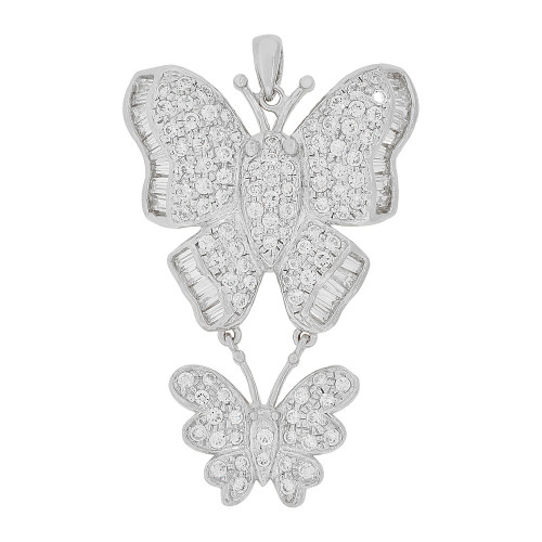 14k Gold White Rhodium, Fancy Double Butterfly Pendant Charm Created CZ Crystals (P051-055)