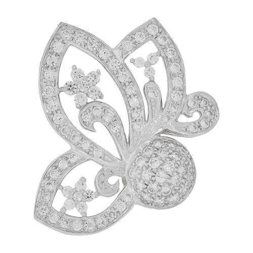 14k Gold White Rhodium, Fancy Abstract Butterfly Bow Design Pendant Charm Created CZ Crystals (P051-056)
