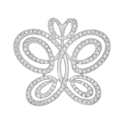 14k Gold White Rhodium, Fancy Abstract Butterfly Design Pendant Charm Created CZ Crystals (P051-057)