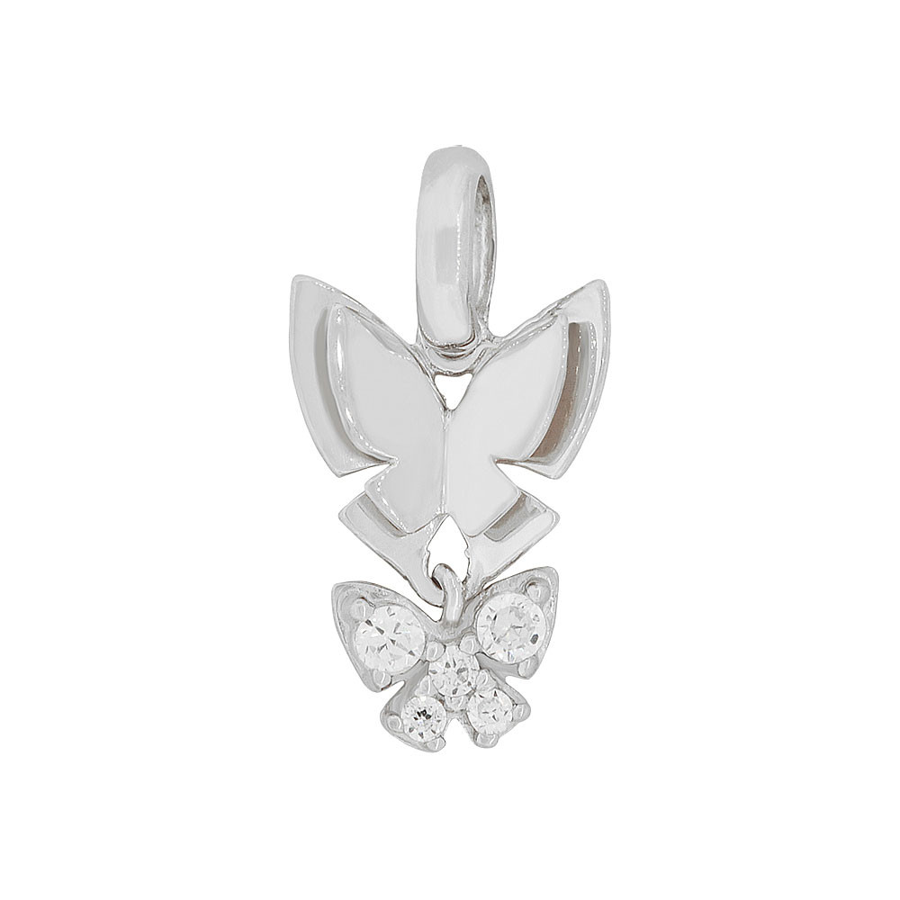 Small Butterfly Charm Pendant Created CZ Crystals Enamel Resin Overlay 14k Gold White Rhodium