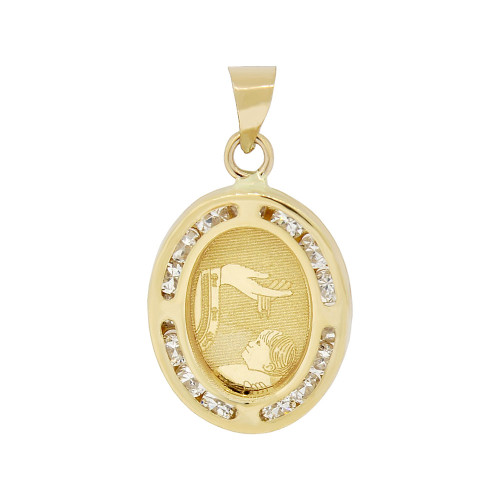 14k Yellow Gold, Small Laser Engraved Baptism Christening Pendant Charm Created CZ Crystals (P052-025)