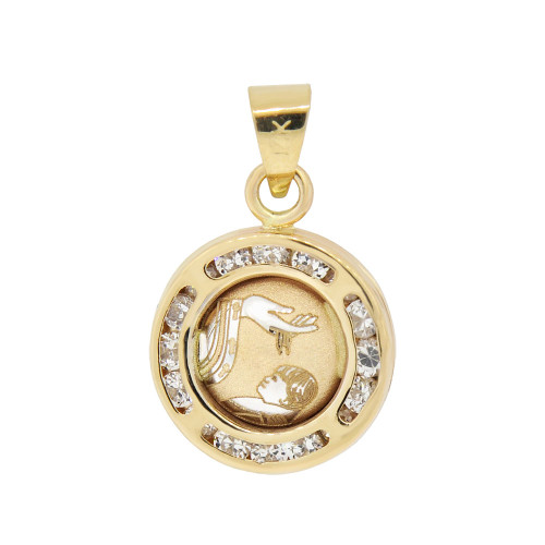 14k Yellow Gold, Mini Laser Engraved Baptism Christening Pendant Charm Created CZ Crystals (P052-027)