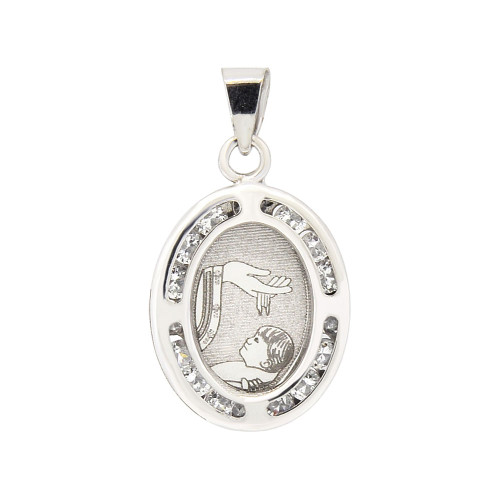 14k Gold White Rhodium, Small Laser Engraved Baptism Christening Pendant Charm Created CZ Crystals (P052-075)