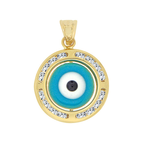 14k Yellow Gold, Small Blue Evil Eye Pendant Charm Created Gems 15mm (P053-125)
