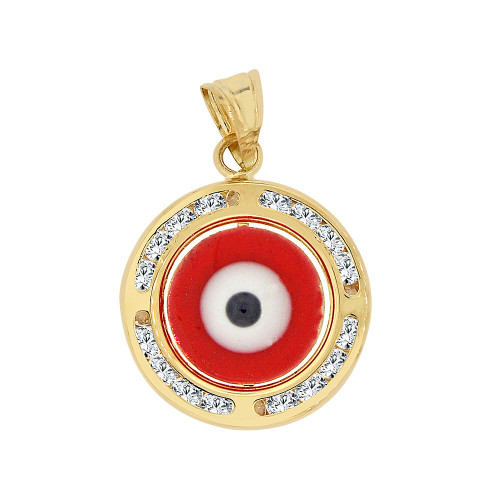 14k Yellow Gold, Small Red Evil Eye Pendant Charm Created Gems 15mm (P053-126)