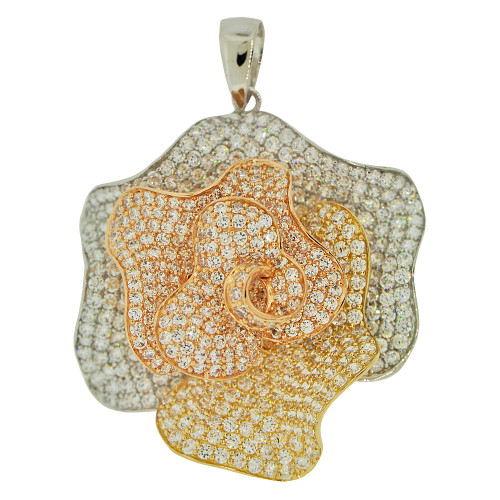 14k Tricolor Gold, Fancy Flower Pendant Charm Created CZ Crystals  (P054-024)