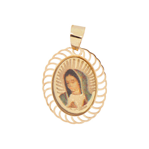 14k Yellow Gold, Colorful Enamel Overlay Virgin Mary Pendant Religious Charm (P054-033)