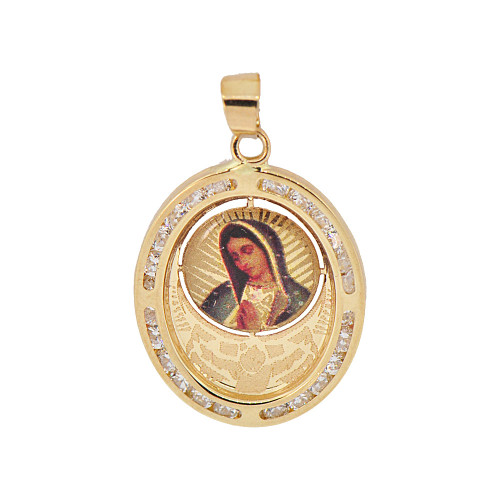 14k Yellow Gold, Religious Pendant Charm Colorful Virgin Mary Figure & Created CZ Crystals (P054-035)