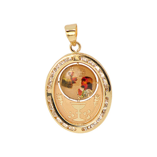 14k Yellow Gold, Religious Pendant Charm Colorful Girl Communion Confirmation Created CZ Crystals (P054-038)