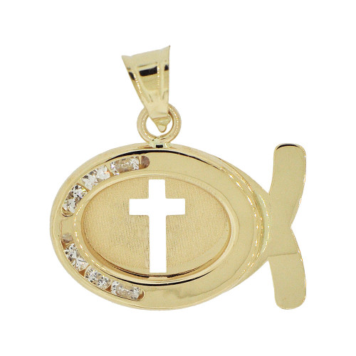 14k Yellow Gold, Christian Fish Ichthys Cross Pendant Charm Created CZ Crystals (P055-017)