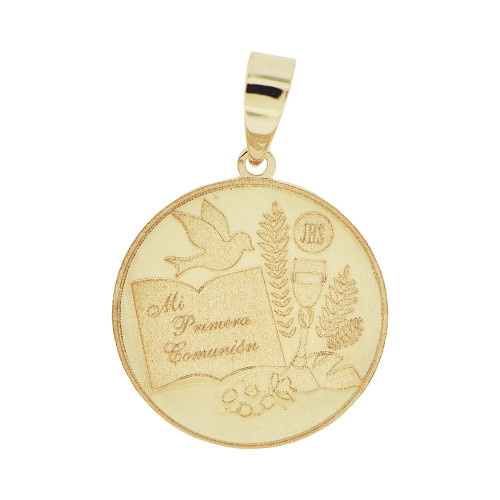 14k Yellow Gold, Laser Engraved First Communion Pendant Charm Round in Spanish (P055-024)