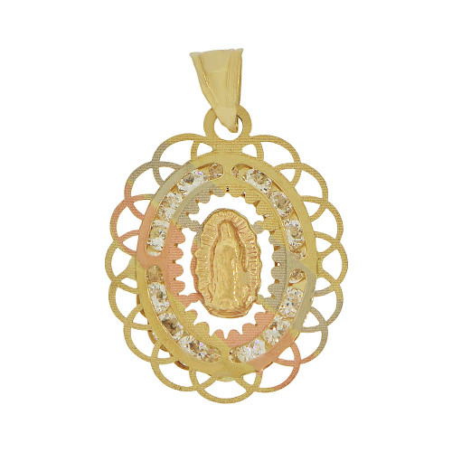 14k Tricolor Gold, Religious Virgin Mary Pendant Religious Charm Sparkly Created CZ Crystals (P055-026)