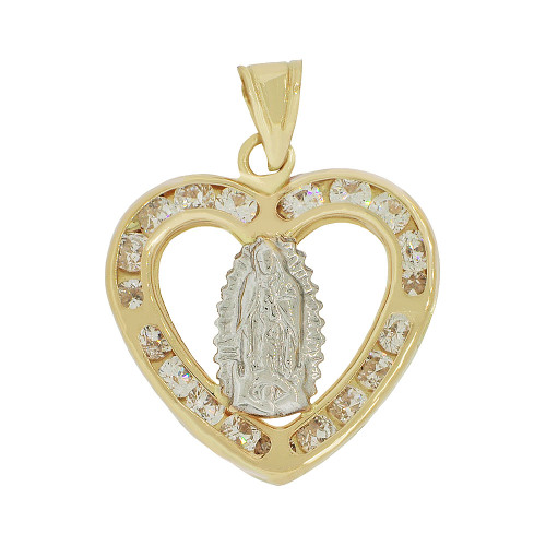 14k Yellow Gold White Rhodium, Religious Virgin Mary Heart Pendant Charm Created CZ Crystals (P055-027)