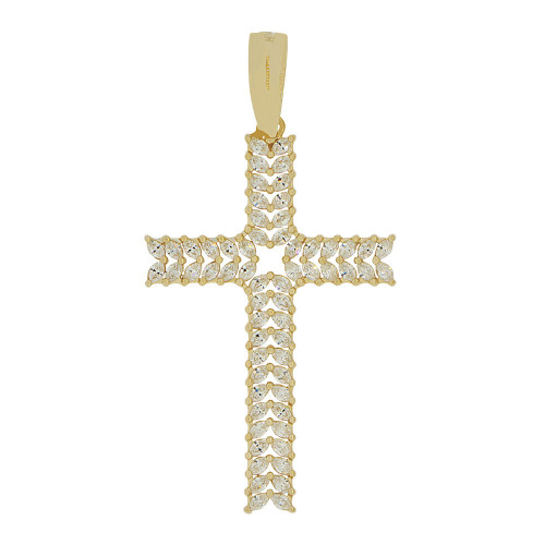 14k Yellow Gold, Fancy Cross Pendant Religious Charm Sparkly Created CZ Crystals (P056-004)