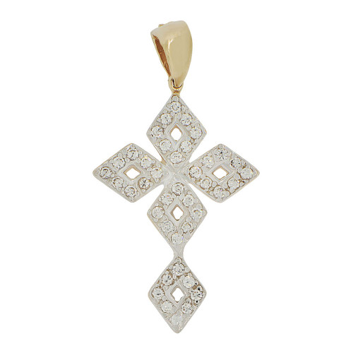 14k Yellow Gold, Fancy Cross Pendant Modern Religious Charm Created CZ Crystals (P056-012)