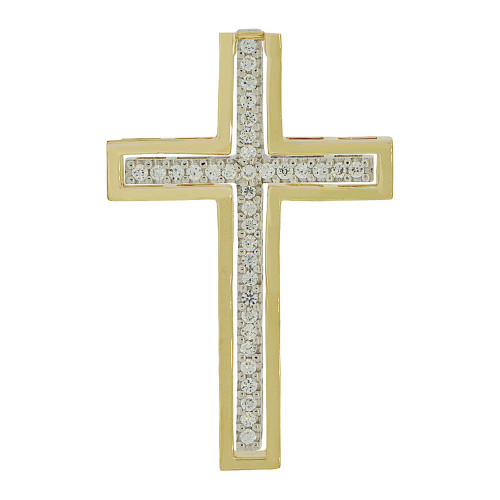 14k Yellow & White Gold, Fancy 2 in 1 Cross Pendant Religious Charm Created CZ Crystal (P056-014)