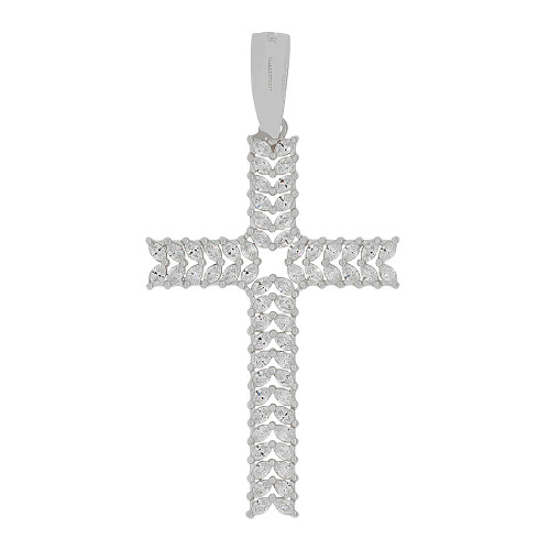 14k Gold White Rhodium, Fancy Cross Pendant Religious Charm Sparkly Created CZ Crystals (P056-054)