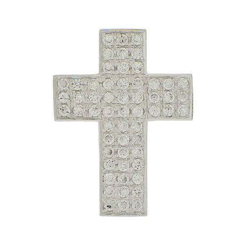14k Gold White Rhodium, Fancy Cross Pendant Religious Charm Created CZ Crystals (P056-058)
